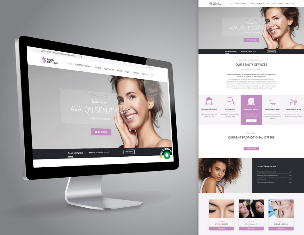 Avalon Beauty Bar site design